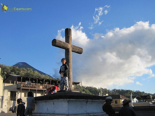 Santiago Atitlan Oldest Church In Guatemala Cross In Plaza