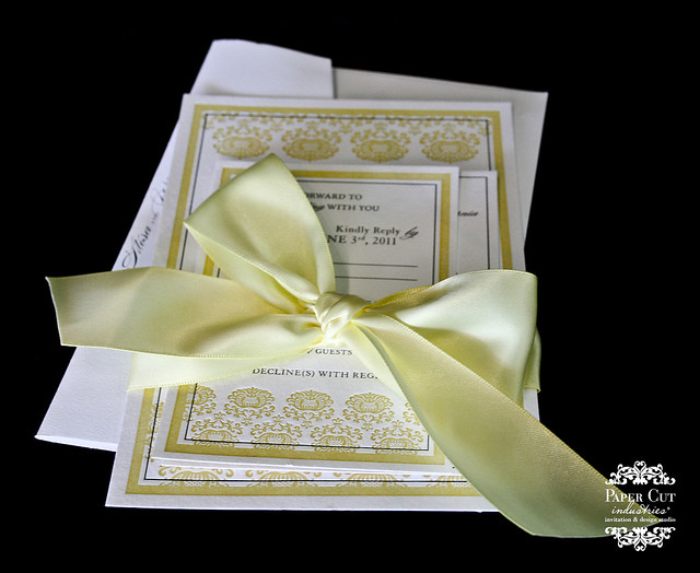 Custom yellow and Charcoal Grey Ornate Design Letterpress Wedding Invitation