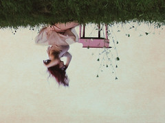 Surreal Madness (bellydnce1103) Tags: pink flowers red portrait sky green texture girl field grass self hair photo illinois piano grand down mini concept upside picnik rockford flipped rotated sumer aldeenpark