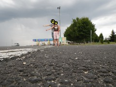 Hitchhiking before pay toll in Croatia, near to Varazdin