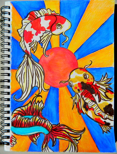 Drawing I Koi Fish Color pencils and a Saturday afternoon