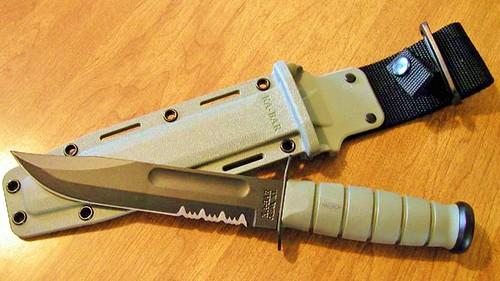 "KA-BAR Foliage Green Fighting Knife 11.75"" Overall Serrated w/Kraton"