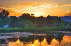 Summer Sunset (splinx1) Tags: light sunset orange cloud color green art water yellow colorado aqua pentax handheld vatten contrejour vand bouldercolorado  pentaxkx     smcpdal1855mmf3556al