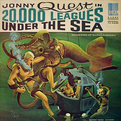 A cartoon drawings: An old submarine and some people fighting underwater against a giant squid