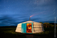 Starry night over Mongolian ger (Pvince) Tags: night star asia trails mongolia yurt startrails ger mng mongolie bulgan