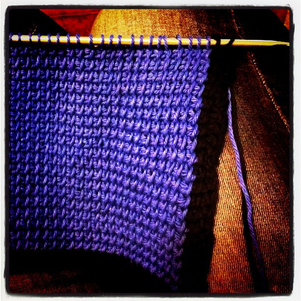 Tunisian crochet in progress