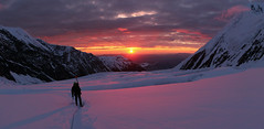 Great Icefall Panorama (Joe Stylos) Tags: park nightphotography sunset panorama sun mountain snow cold ice expedition rock alaska night climb pano glacier climbing national mountaineering denali mckinley crevasse mtmckinley midnightsun mountmckinley muldrowglacier flickraward5 traversschick expeditionclimbing joestylos greaticefall