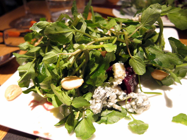 WATERCRESS AND ROASTED BEET SALAD WITH VALDEON AND MARCONA ALMONDS