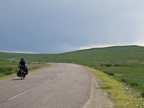 Emma cycling after Kharkhorin