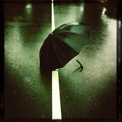 Dutch rain (wout.) Tags: road summer urban streets rain umbrella stripes iphone4 hipstamatic
