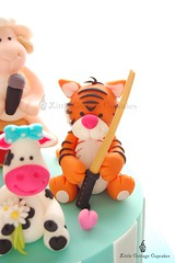Daddy Tiger! (Little Cottage Cupcakes) Tags: birthday cake cow sheep tiger sword ram bokken fondant caketoppers sugarpaste littlecottagecupcakes