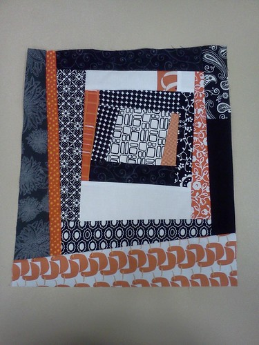 Wonky log cabin block for Kati