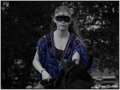 Determination (Dream_Searcher) Tags: horse woman colors girl festival wow colours fuji du finepix coloring fujifilm pow rider colouring selective hs10 hs11