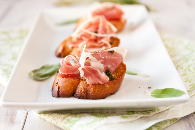 Prosciutto Bruschetta with Browned Sage Butter