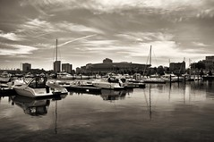 Burnham Harbor Monochrome (Seth Oliver Photographic Art) Tags: chicago sepia clouds buildings reflections boats iso200 illinois nikon midwest skyscrapers lakes cities cityscapes lakemichigan sailboats southloop harbors beautifulclouds pinoy downtownchicago cookcounty urbanscapes marinas secondcity soldierfield monochromes chicagoist d90 burnhamharbor wetreflections handheldshot cityofchicago monotones cityofbigshoulders springinchicago landscapemode aperturef100 setholiver1 18105mmnikkorlens circularpolarizers 0005secondexposure