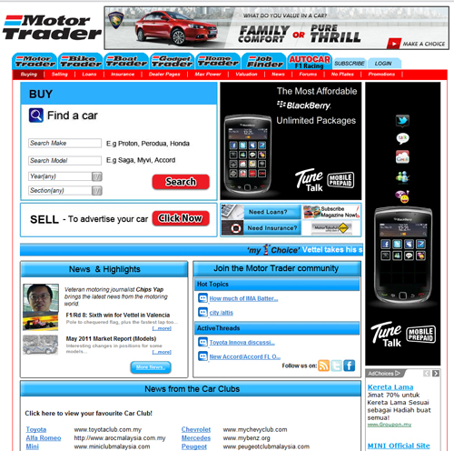 Old Motor Trader Website