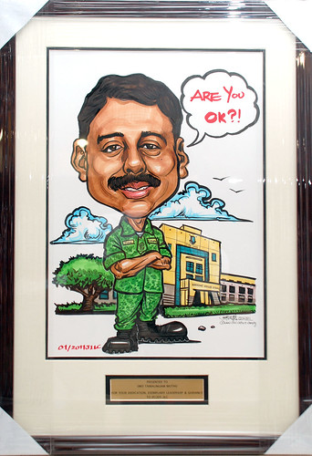 Caricature for Singapore Armed Forces 15062011 with metal engraving in frame