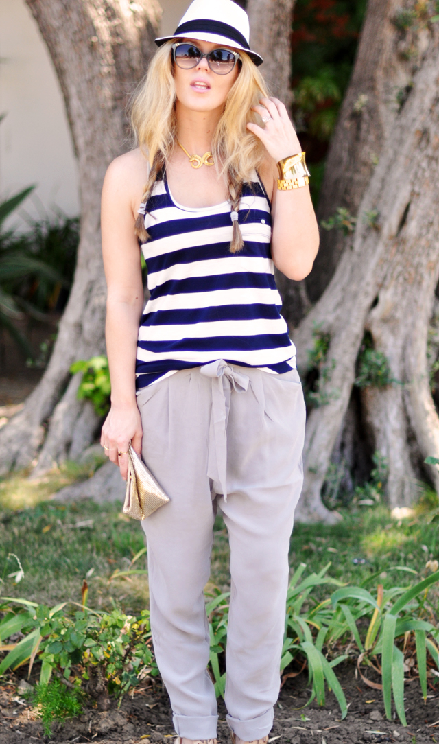 navy and white and gray  and gold outfit + chloe sunglasses