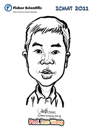 Caricature for Fisher Scientific - Prof. Dan Wang