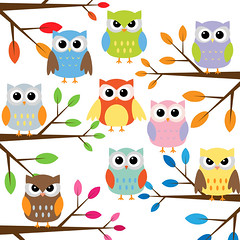 Owl with branches clip art set (Yulia_M) Tags: illustration scrapbook scrapbooking children cards design cartoon drawings clipart kawaii owl download etsy supplies greeting invitations printable сute digitalclipart