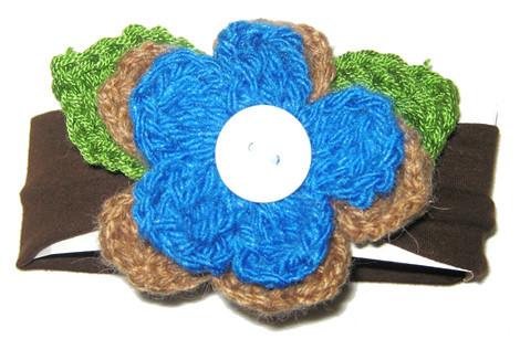 vincha marron flor turquesa