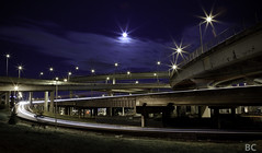 Stars of Another Sort (Ben Canales) Tags: longexposure light urban moon night portland stars lights highway traffic creative trails trail pdx bencanales