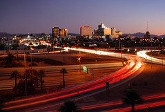 Downtown in Motion (micamulloy) Tags: light summer arizona urban phoenix point lights timelapse downtown time perspective trails july downtownphoenix lapse vantage 2011