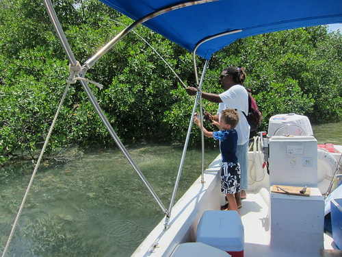 Ezra and Chris catch a fish