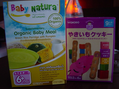 Organic thai baby meal and Japanese sweet potato/kumara biscuits