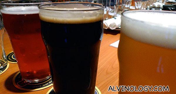 Different beer brews from Brewerkz