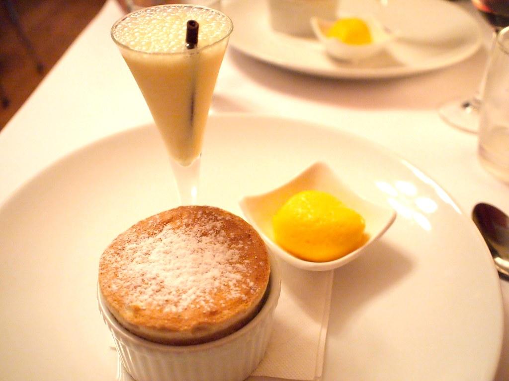 ... & Chocolate Souffle with Mandarin Sorbet, Bitter Orange Milkshake