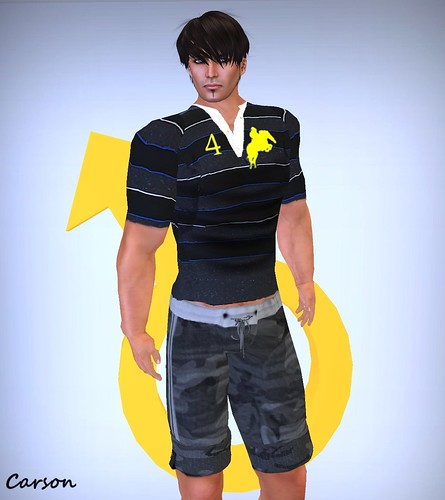 G-series - Camo Grey Track Shorts ---     watAnabe  - Yellow Horse Polo