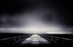 Love is no big truth (inhiu) Tags: road bridge sky bw cloud fog mystery landscape mono iceland nikon d7000 inhiu