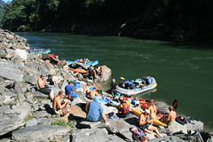 Lunch river side on the Kameng river Adventure rafting and Kayaking trip