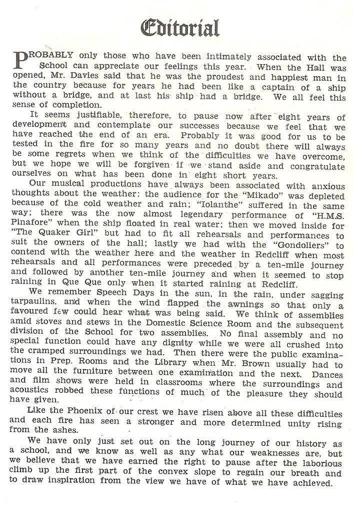 Que Que High School Editorial 1959
