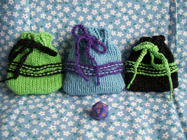 three handknit dice bags for Etsy