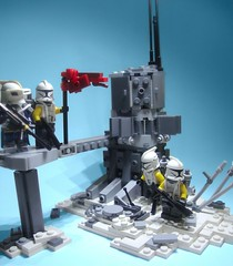 Mission 9.1 (justin pyne) Tags: lego star wars clone trooper yankee company charlie squad mission 9 91 epidemic nelvaan nelvaanian flag ripped battered 457th corps 707th legion objective techno union sci fi science fiction space