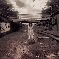 Empty Without You (Casey David) Tags: railroad bridge trees sky woman abandoned glass girl project print death graffiti scary birmingham day bare ghost alabama floating levitation ground days creepy trench dirt abandon barefoot 365 dying creep possession afterlife railroadtracks birminghamal possess levitate afterdeath crossties project365 365days floatinggirl caseydavid caseydavidphotography