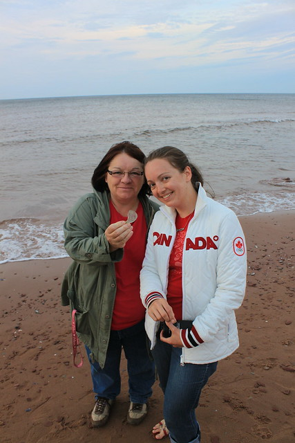 My sea glass coach, Cindy and I with my first find.