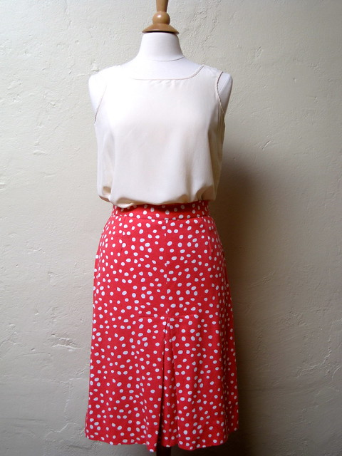 Coral and White Polka Dot Skirt