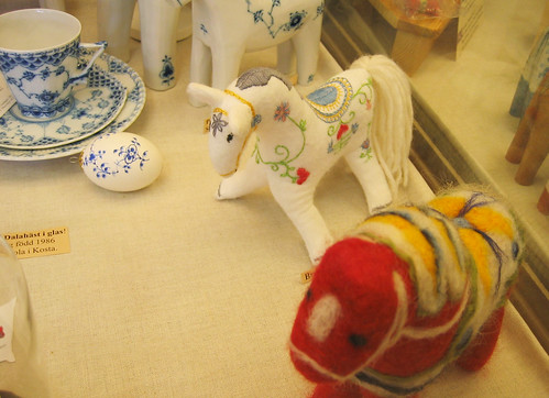 Felted and embroidered dala horses