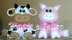 Feltro - vaquinha e porquinho - centro de mesa (Pontos e Feltro - Artesanato) Tags: artesanato feltro
