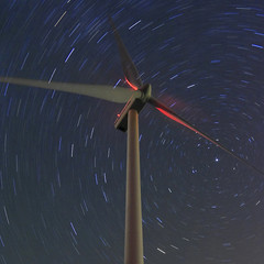 vertigo (wunderskatz) Tags: blue sky plant nature windmill night stars energy hungary power wind vertigo engineering clean friendly environment rotation safe protection eco turbine renewable startrails longshot windgenerator windpark windengine