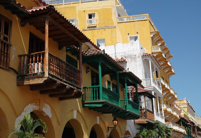 Colourful house fronts and balconies in UNESCO World Heritage-listed Cartagena