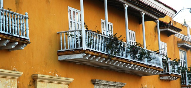 Colourful house front and balcony in UNESCO World Heritage-listed Cartagena
