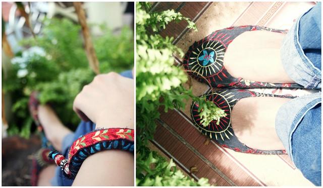 giầy và vòng vải thêu hoa