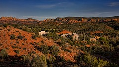 Sedona, Arizona (Imagineering My Way) Tags: blue houses homes arizona sky usa unitedstates desert sedona brush canon10d redrocks canoneos topaz treest buttes verdevalley topazlabs topazadjust