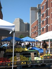 the produce stands in Boston's Haymarket (by: Katherine Hala, creative commons license)