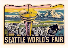 Seattle World's Fair Decal (The Cardboard America Archives) Tags: seattle vintage sticker spaceneedle decal 1962 worldsfair