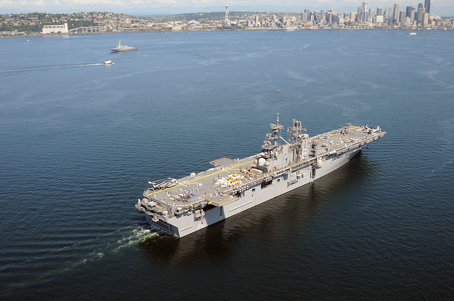 USS Bonhomme Richard (LHD 6) participates in the Parade of Ships during the 62nd annual Seattle Seafair Fleet Week
